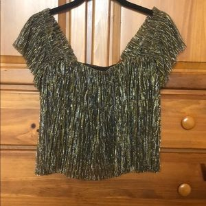 Gold and Black Crop Top